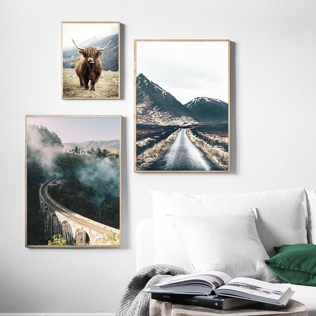 Wall Art Landscape Canvas Poster Nordic Nine Arch Bridge Foggy Forest  4