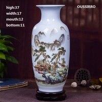 OUSSIRRO Jingdezhen Ceramic Vases Pottery Decoration living room Flower arrangement Modern Home Simple TV Cabinet Christmas Gift