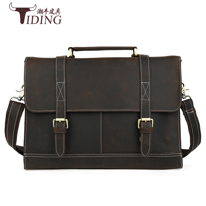 Crazy Horse Leather Men's Dark Brown Briefcase Messenger Laptop Men Messenger Bags15