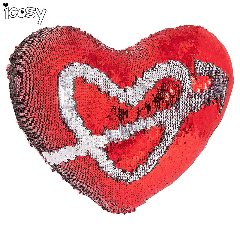 IHOMEE 실버 / 붉은 심장 모양의 장식 쿠션 커버 베개 - 홈 섬유