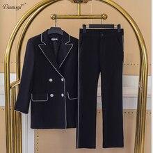 New Latest Spring Autumn Women 2 Pieces Suit Sets Long Sleeve Office Work Uniform Elegant Slim Ankle-length Pants Coat Set 2XL