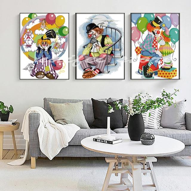 "3pcs/set,5D diy diamond embroidery""Clowns""full square diamond painting abstract Cross Stitch Rhinestone mosaic child room decor"