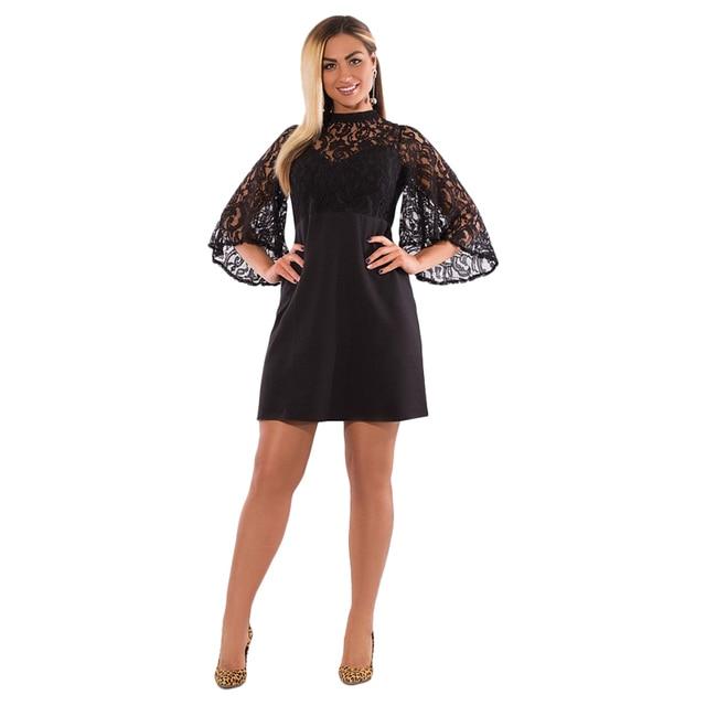 4a6563b132455 US $14.43 38% OFF|2019 Summer Dress Plus Size Women Clothing Flare Sleeve  Black Lace Dress Sexy Party Dress 5XL 6XL Big Size Women Dress Vestidos-in  ...