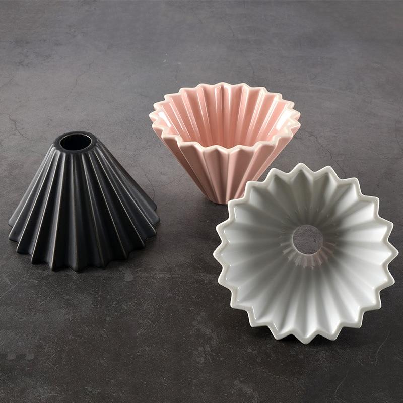 1 pièces fabricant entonnoir goutte à goutte céramique Origami StrainerBrewer 3 couleur flanelle café goutteur filtre cône verser sur service
