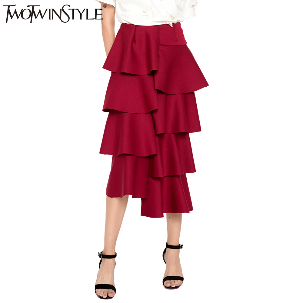 TWOTWINSTYLE Space Cotton Ruffle Midi Long Skirt High Waist Pencil Skirts Womens Sexy Bodycon Clothes Korean Autumn Winter 2019