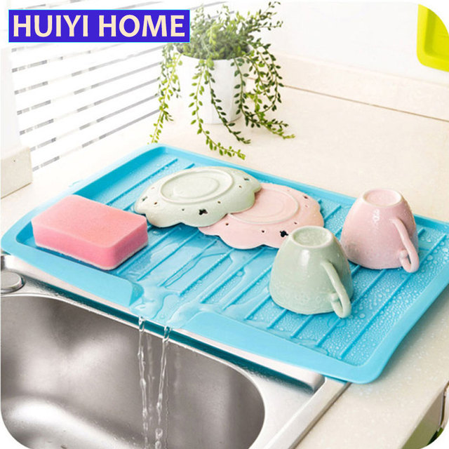 Huiyi Home Plastic Large Sink Dish Drainer Vegetable Fruit Drying Rack  Washing Holder Organizer Tray For