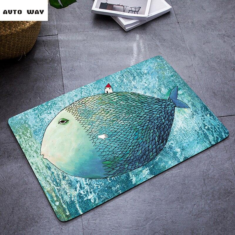 Nordic Cartone Animato tappeto blu del Mediterraneo Camera Da Letto stuoie zerbino Bagno wc tappetino antiscivolo pesce pattern tappeto rotondo