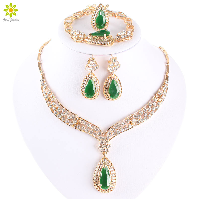 Fashion Crystal Necklace Collar Jewelry Sets For Women Party Accessories African Beads Earrings Bracelet Rings Set Vintage Green