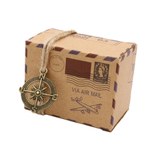 50pcs New Stamp Design Wedding Vintage Candy Box Chocolate Packaging Kraft Gift Box Wedding Favors and Gifts Bag Party Supplies
