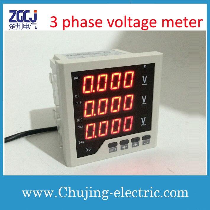 Livraison gratuite!!! Compteur de tension numérique AC/DC 85-265 V mesure de tension d'alimentation 0-450 V AC 3 phases compteur de tension numérique