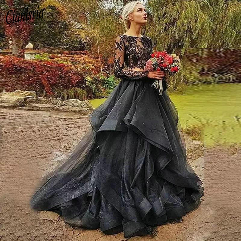 Black Gothic Wedding Dresses Long Sleeves Lace Slash Neck Ruffles Tulle Ball Gown Two Piece Bridal Dresses Wedding Gowns Wedding Dresses Aliexpress
