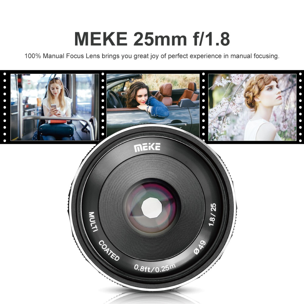 Meike 25mm f1.8 Large Aperture Wide Angle Lens Manual APS-C For Sony E Mount cameras A7RII A7RIII NEX-5 NEX-7 A6000 A6500 A7 meike 8mm f 3 5 wide angle fisheye lens camera lenses for sony a6000 alpha and nex mirrorless e mount camera with aps c