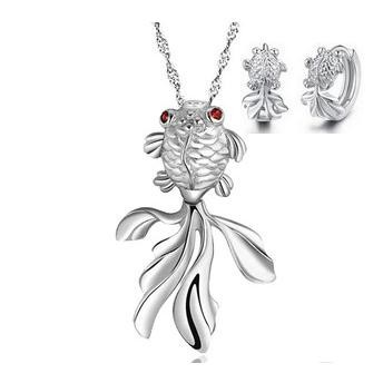 Promotion hot sell fashion 925 sterling silver ladies jewelry sets goldfish design pendant necklaces stud earrings jewelry gift in Jewelry Sets from Jewelry Accessories