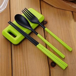 3 in 1 ABS Folding Dinnerware Cutlery Fork Chopsticks Set with Storage Box Outdoor kamp Camping Hiking Traveling Tableware Set