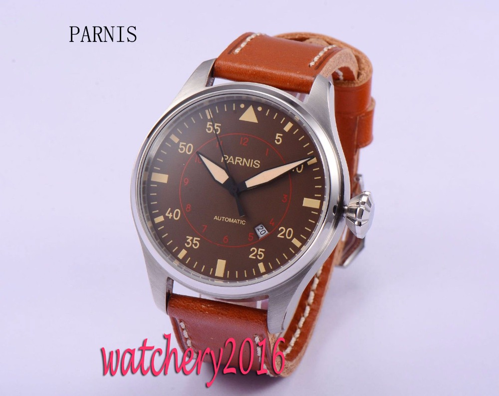 47mm parnis coffee dial date brown leather strap mineral crystal miyota automatic movement mens watch luxurious 47mm parnis coffee dial date seagull automatic movement mens watch page 6