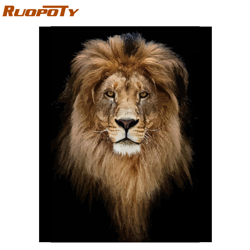 RUOPOTY Frame Lion DIY Painting By Numbers Animals Kit Coloring By Numbers Wall Art Picture For Home Decor Unique Gift 40x50cm