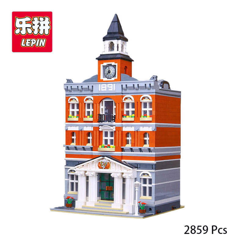 Lepin 15003 City Street The Town Hall Model Building Block Assembling Toys Kits Compatible with lego 10224 Educational Gifts lepin 15013 city street carousel model building kits assembling blocks toy legoing 10196 educational merry go round gifts