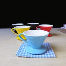 1 hole Candy color ceramic coffee bowl cup V60-01 Screw type Ceramic coffee hand punch 1-2 servings hand coffee filter dripper