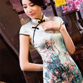 PROUD cold plum spring and summer fashion improved cheongsam short paragraph retro heavy silk skirt Silk