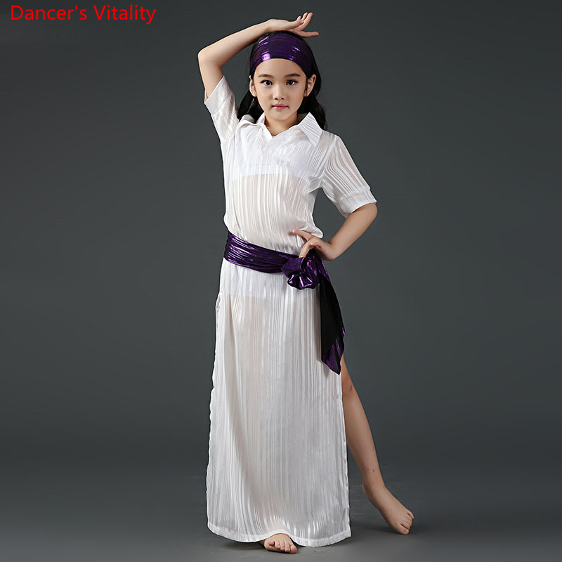 2018 Competition Children Oriental Dance Performance Costume Belly Dance Costume 5pcs Robe Dancing Outfit S/L