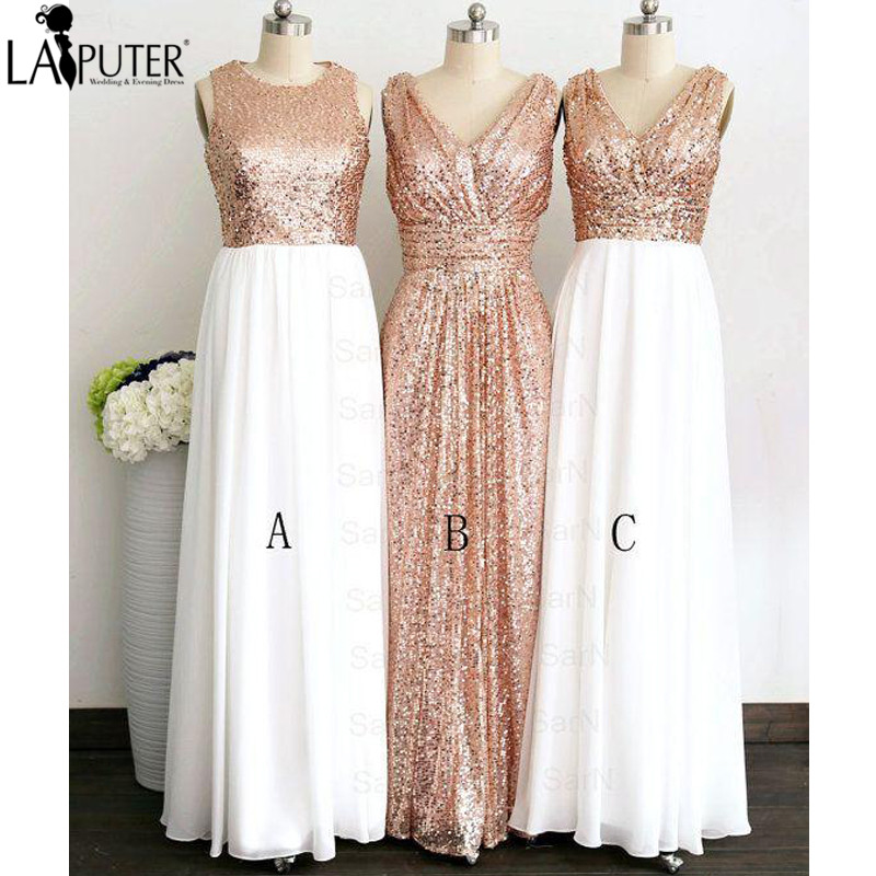 Elegant Long A-line Chiffon Sequined Bridesmaid Dresses Floor Length Couture Long V Neck Rose Gold Cheap Bridesmaid Dress 2017