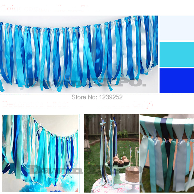 HOT Bule 10035CM Wedding Tassel Satin Ribbon Garland Flowers