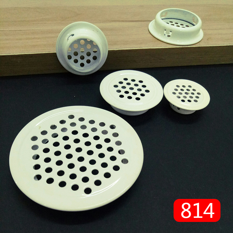 4pcs Milk White Cabinet Air Vent Louver Mesh Hole Round Stainless Steel Flat Surface Convex Surface 19mm/25mm/30mm/35mm/53mm