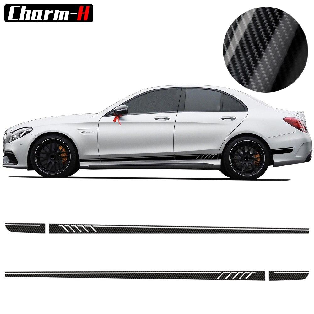 507 Côté Rayures Stickers C63 AMG Édition pour Mercedes Benz W204 C Classe Stickers-5D Carbone Fibre/Noir/Jaune /blanc/Gris Argent