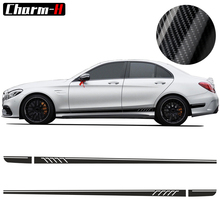 5D carbon fibre AMG Edition C63 507 Side Stripe Decals Stickers For Mercedes Benz C Class W204 2pcs for mercedes benz g63 amg performance edition side sports stripe w463 g65 skirt vinyl decals sticker black 5d carbon
