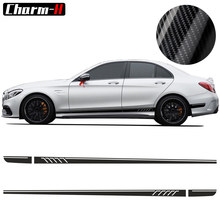507 Side Stripes Decals C63 AMG Edition for Mercedes Benz W204 C Class Stickers-5D Carbon Fibre/Black/Yellow/White/Silvergrey(China)