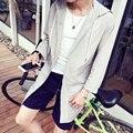 Verão Novo Protetor Solar Roupas Homens Coreanos Solta Blusão Com Capuz Jaqueta Estilo Cardigan Fino Roupas de Proteção Longo Sol 5XL-M