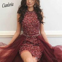 Stunning Burgundy Sequined Homecoming Dresses With Detachable Train Beaded Rhinestones Short Prom Gowns Sequined Cocktail Dress