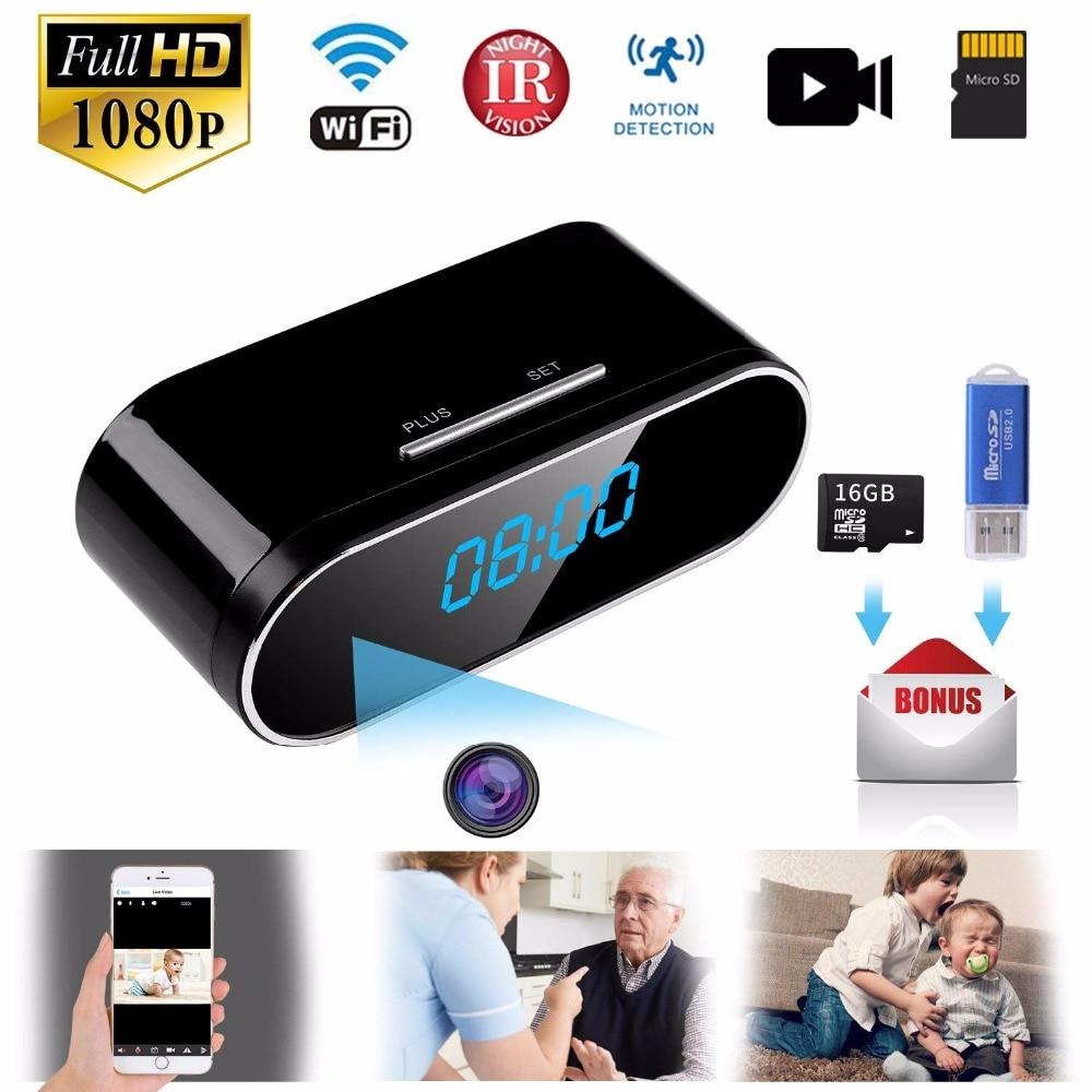 1080P WIFI Mini Camera Time Alarm Clock Wireless Motion Sensor IP Security Night Vision Micro Home