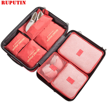 RUPUTIN New 7PCS/Set High Quality Oxford Cloth Ms Travel Mesh Bag In Luggage Organizer Packing Cube Organiser For Clothing