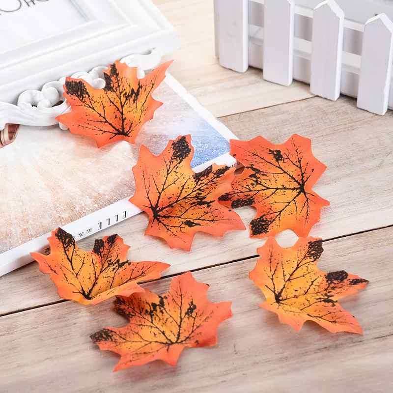 50 pçs/lote Maple Folhas De Seda Artificial Falso Folha Da Queda de Folhas De Bordo Artificial Simulação Decorativa para Festa de Casamento Decoração de Casa