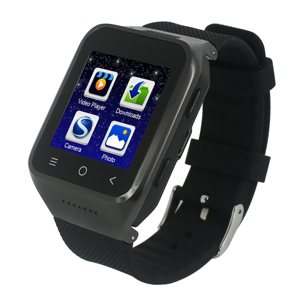 EDT-ZGPAX S8 1.54 Inch Android 4.4 Kitkat OS Dual Core Unlocked 3G SIM Smart Phone Watch With 12GB ROM 2.0MP Camera Capacitive