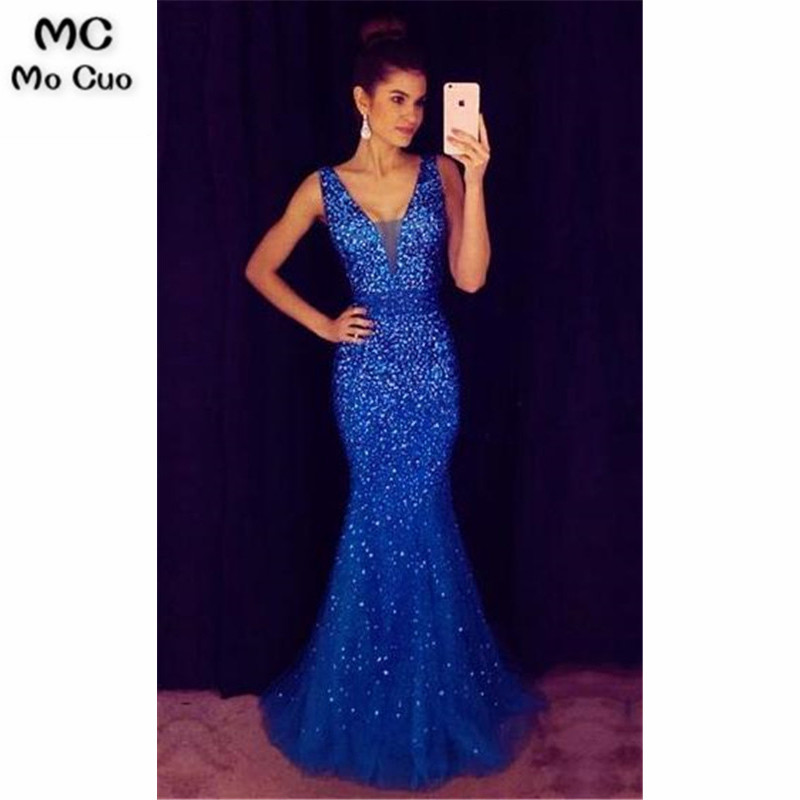 2019 Royer Blue Mermaid   Prom     dresses   with Rhinestone V-Neck long graduation   dresses   Evening   Prom     Dress   for Women Custom Made