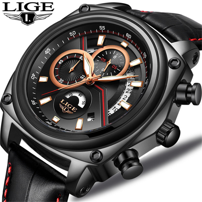 LIGE Mens Watches Top Brand Luxury Mens Fashion Business Watch Men Black Leather Waterproof Quartz Wristwatch Relogio Masculino рубашка мужская finn flare цвет голубой b18 21023 размер 4xl 58