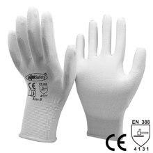 Антистатические хлопковые полиуретановые рабочие перчатки 12 пар, безопасные электронные промышленные рабочие перчатки ESD для мужчин и женщин