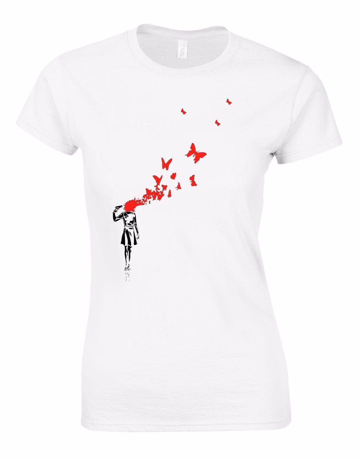 Banksy Girl Blowing Brains Out Red Butterflies Street Art Woman Tshirt AL97