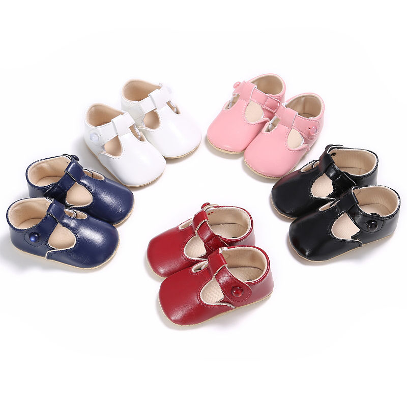 Fashion Newborn Baby Girls Mary Jane PU Leather Sweet Popular Spring Autumn Princess Ballet Dress First Walkers Soft Soled Shoes