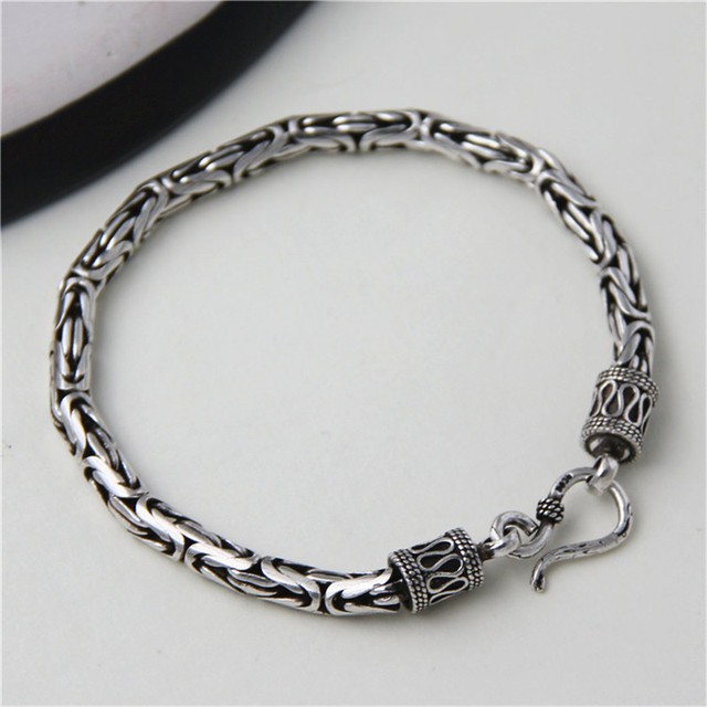 417223f659e12 JINSE 5MM Width Male Bracelet 925 Sterling Silver Bangles Men Jewelry Thai Silver  Rope Chain 19 22CM Fine Present For Boyfriend