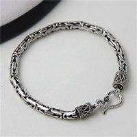 JINSE 5MM Width Male Bracelet 925 Sterling Silver Bangles Men Jewelry Thai Silver Rope Chain 19