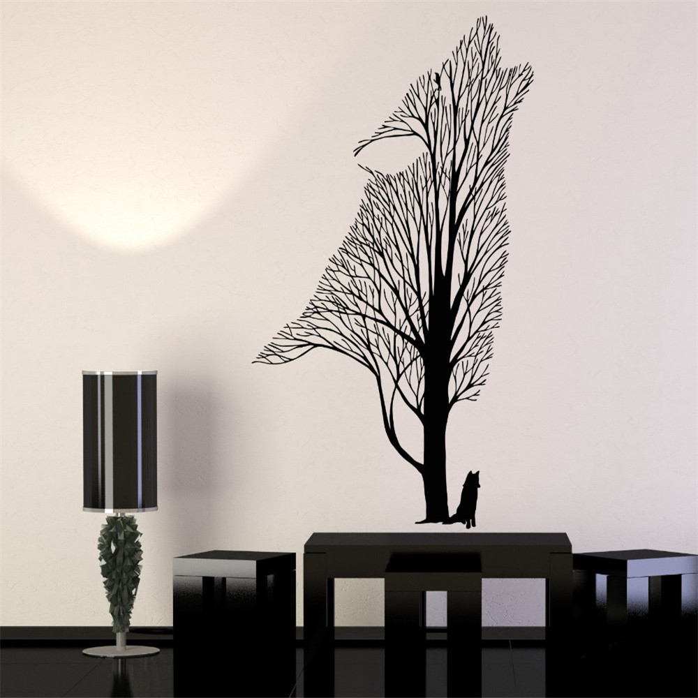 New Arrival Modern Vinyl Wall Decals Tree Howling Wolf Raven Animals Gothick Style Wall Stickers font