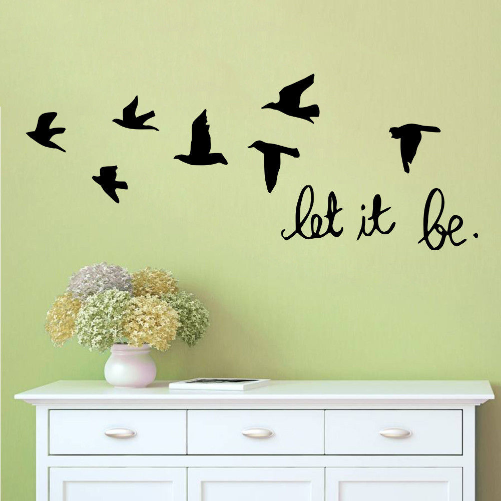 Let it be Quote Vinyl Decal Removable Art Wall Stickers Home Room ...
