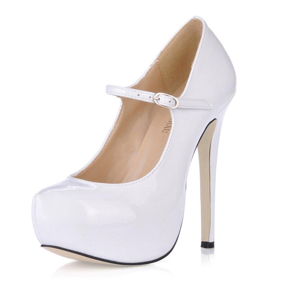 Sexy Patent Bridal Party Round Toe Stiletto Platform Women Pumps Scarpe da Donna Tacco Alto a Spillo da Sera Lackleder 3463B b2 in Women 39 s Pumps from Shoes