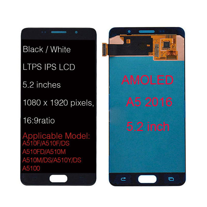SUPER AMOLED 5.2 LCD For SAMSUNG Galaxy A5 2016 A510 A510F A510M A510FD LCD Display with Touch Screen Digitizer AssemblySUPER AMOLED 5.2 LCD For SAMSUNG Galaxy A5 2016 A510 A510F A510M A510FD LCD Display with Touch Screen Digitizer Assembly