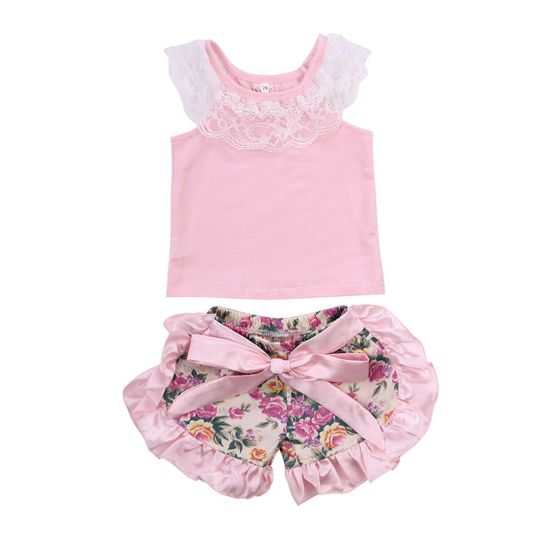 0-24M Newborn Baby Girl Clothes Sets Infantil Toddle Summer Beach Sets Sleeveless Tank Tops + Floral Shorts Girl Baby Sets D40