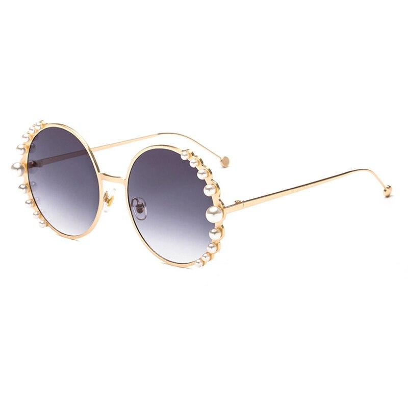 Frauen Sonnenbrille Neue 2018 Luxus Marke Runde Rahmen Perle Design Fashion Brille Lentes De Sol Mujer Oculos Feminino Hot L3