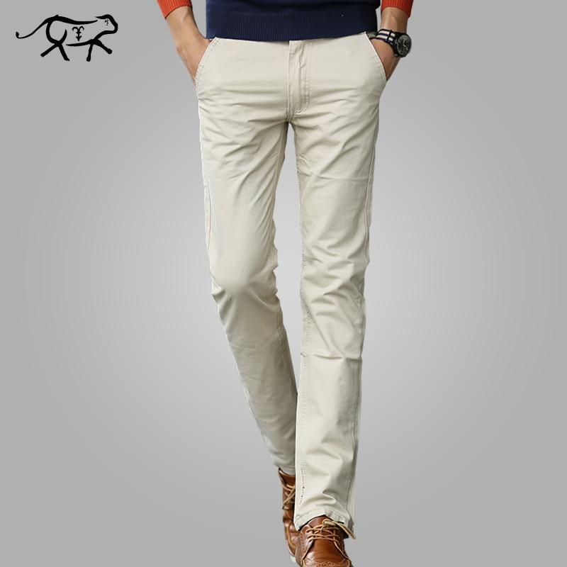 553eed360 Pantalones para Hombre Nuevo 2018 pantalones casuales de algodón para  hombre Pantalones largos rectos de color caqui talla grande pantalones de  ...